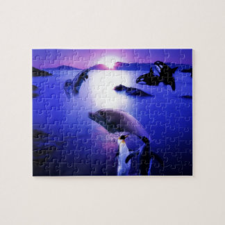 Whales dolphins penguins ocean sunset puzzle