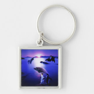 Whales dolphins penguins ocean sunset Silver-Colored square keychain