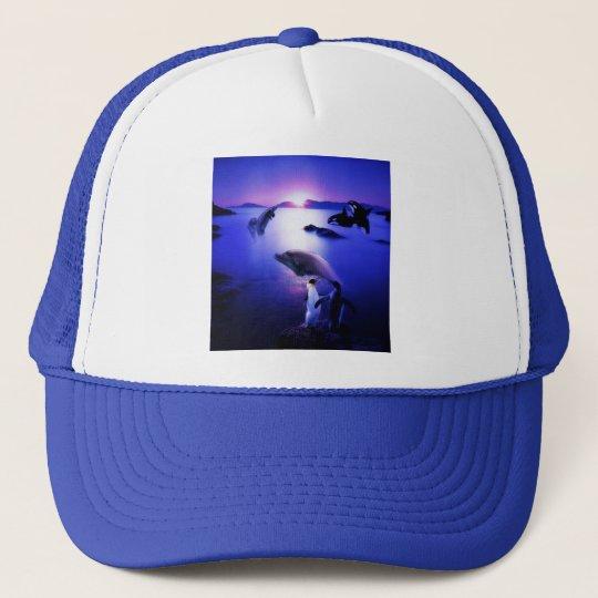 Whales dolphins penguins ocean sunset trucker hat