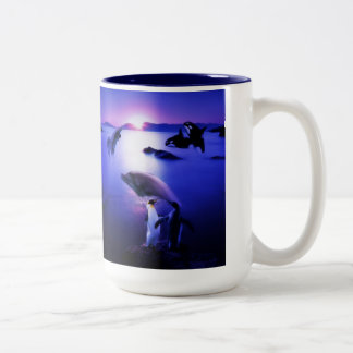 Whales dolphins penguins ocean sunset Two-Tone coffee mug