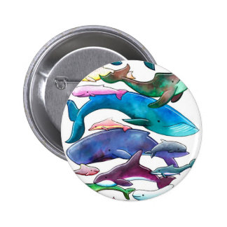 Whales, Dolphins & Porpoises 2 Inch Round Button
