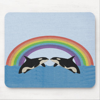 Whales in a Rainbow Mousepad
