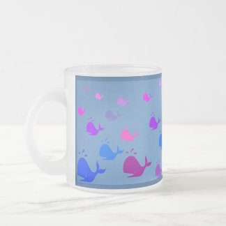 Whales In Blue Violet And Pink Frosted Glass Coffee Mug