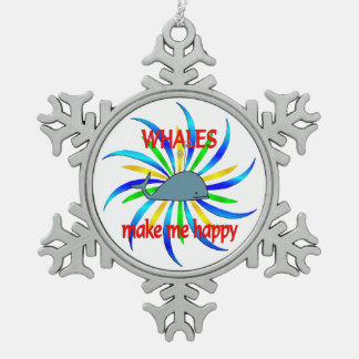 Whales Make Me Happy Snowflake Pewter Christmas Ornament
