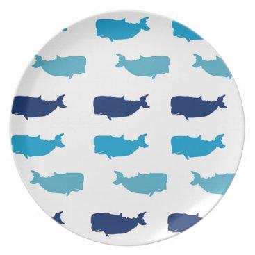 Beach Themed Whales Melamine Plate
