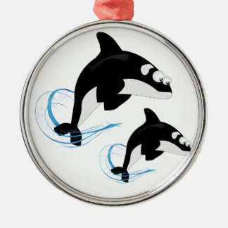 whales metal ornament