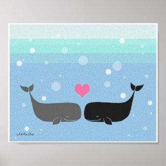 Whales Poster Cute Whale Couple Nautical Ocean Art