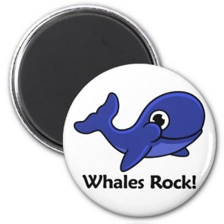 Whales Rock! 2 Inch Round Magnet