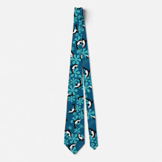 Whales Swimming In Blue Water Tie