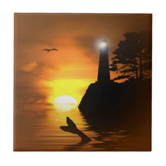 Whale's Tail and Lighthouse Art Tile