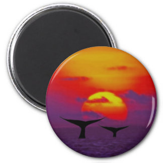 Whales tail at sunset 2 inch round magnet