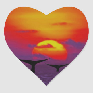 Whales tail at sunset heart sticker