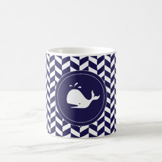 Whales Tale Navy White Herringbone Mug