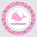 Whales Tale Pink & Wavy Navy Invitation Classic Round Sticker