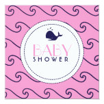 Whales Tale Pink & Wavy Navy Mix Invitation