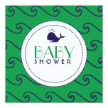Whales Tale & Wavy Navy & Green Invitation