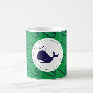 Whales Tale & Wavy Navy & Green Phone Case Coffee Mug