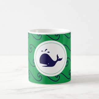 Whales Tale Wavy Navy Green Phone Case Mugs