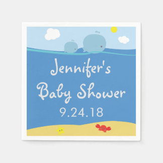 Whales Under the Sea Baby Shower Napkins Standard Cocktail Napkin