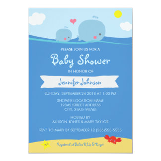 "Whales Under the Sea Baby Shower / Sprinkle Invite 5"" X 7"" Invitation Card"