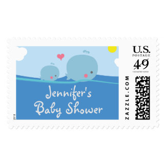 Whales Under the Sea Baby Shower / Sprinkle Stamp