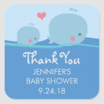 Whales Under the Sea Baby Shower Thank You Sticker