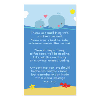 Whales Under the Sea Bring a Book Shower Insert Double-Sided Standard Business Cards (Pack Of 100)