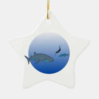 Whaleshark and a free diver Double-Sided star ceramic christmas ornament