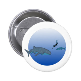 Whaleshark and a free diving pinback button