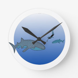Whaleshark and Free Diver Round Clock