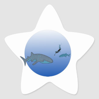 Whaleshark and Free Diver Star Sticker