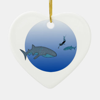 Whalesharks and a Free Diver Double-Sided Heart Ceramic Christmas Ornament