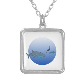 Whalesharks and a Free Diver Silver Plated Necklace