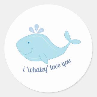 Whaley Love You Round Sticker