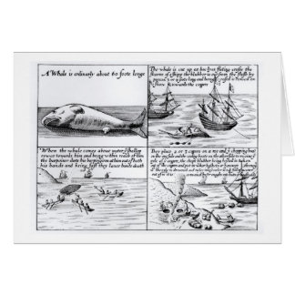 Whaling at Spitzbergen in 1611 (engraving) (b/w ph Card