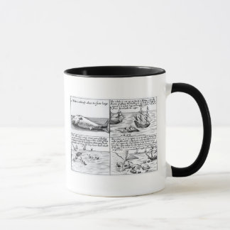Whaling at Spitzbergen in 1611 (engraving) (b/w ph Mug