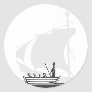 Whaling Boat Classic Round Sticker