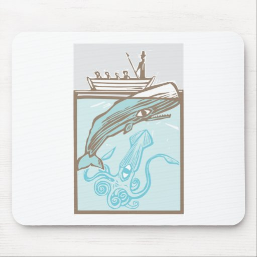Whaling with Squid Mouse Pad