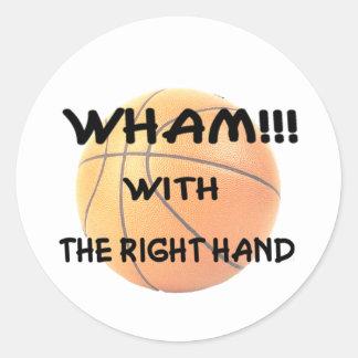 Wham con el derecho (el wh) pegatina redonda