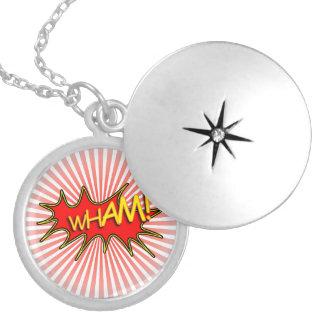 Wham explosion round locket necklace