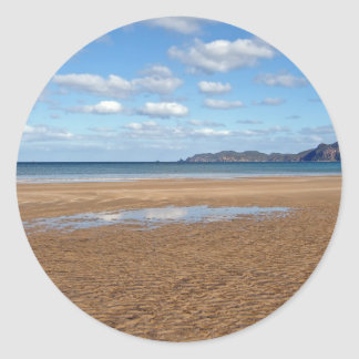 Whangapoua Beach at Low Tide, New Zealand Classic Round Sticker
