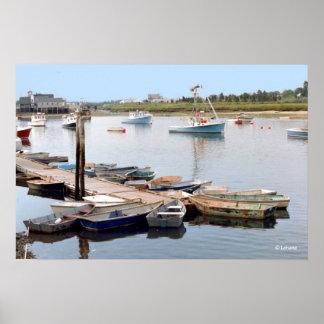 Wharf Boats at Serene Sunrise Print