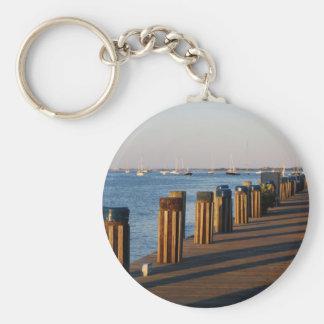 Wharf, Nantucket Harbor Keychain