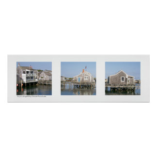 Wharf Scene Nantucket, Massachusetts Triptych Poster