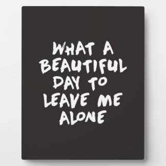 What a beautiful day to leave me alone plaque