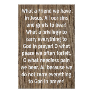 What a friend we have in Jesus Hymn Poster