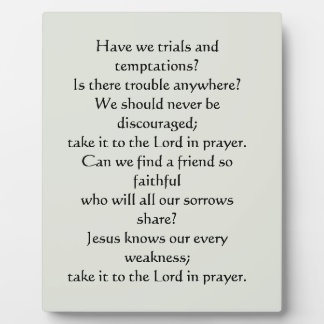 What a Friend We Have in Jesus Plaque