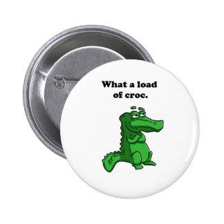 What A Load of Croc Alligator Crocodile Cartoon Pinback Buttons