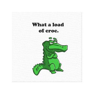 What A Load of Croc Alligator Crocodile Cartoon Canvas Print