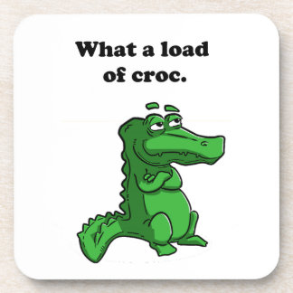 What A Load of Croc Alligator Crocodile Cartoon Beverage Coasters